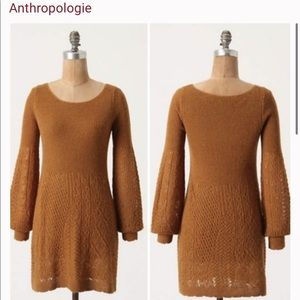 Anthro Knitted Knotted Bishop Sleeve Pointelle Tunic Medium